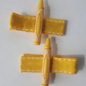 Other - Handmade Kiddie Clips - Yellow Crayons